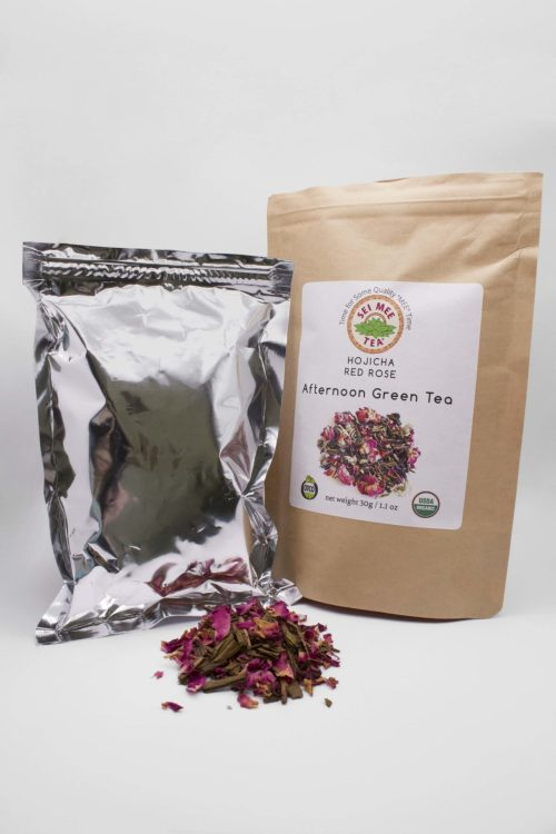 Hojicha Red Rose Afternoon Green Tea pouch contents