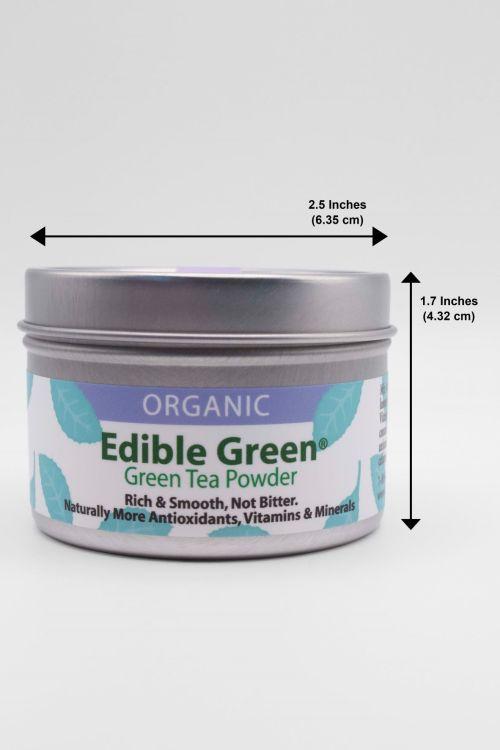 Edible Green Sencha Tin Dimensions