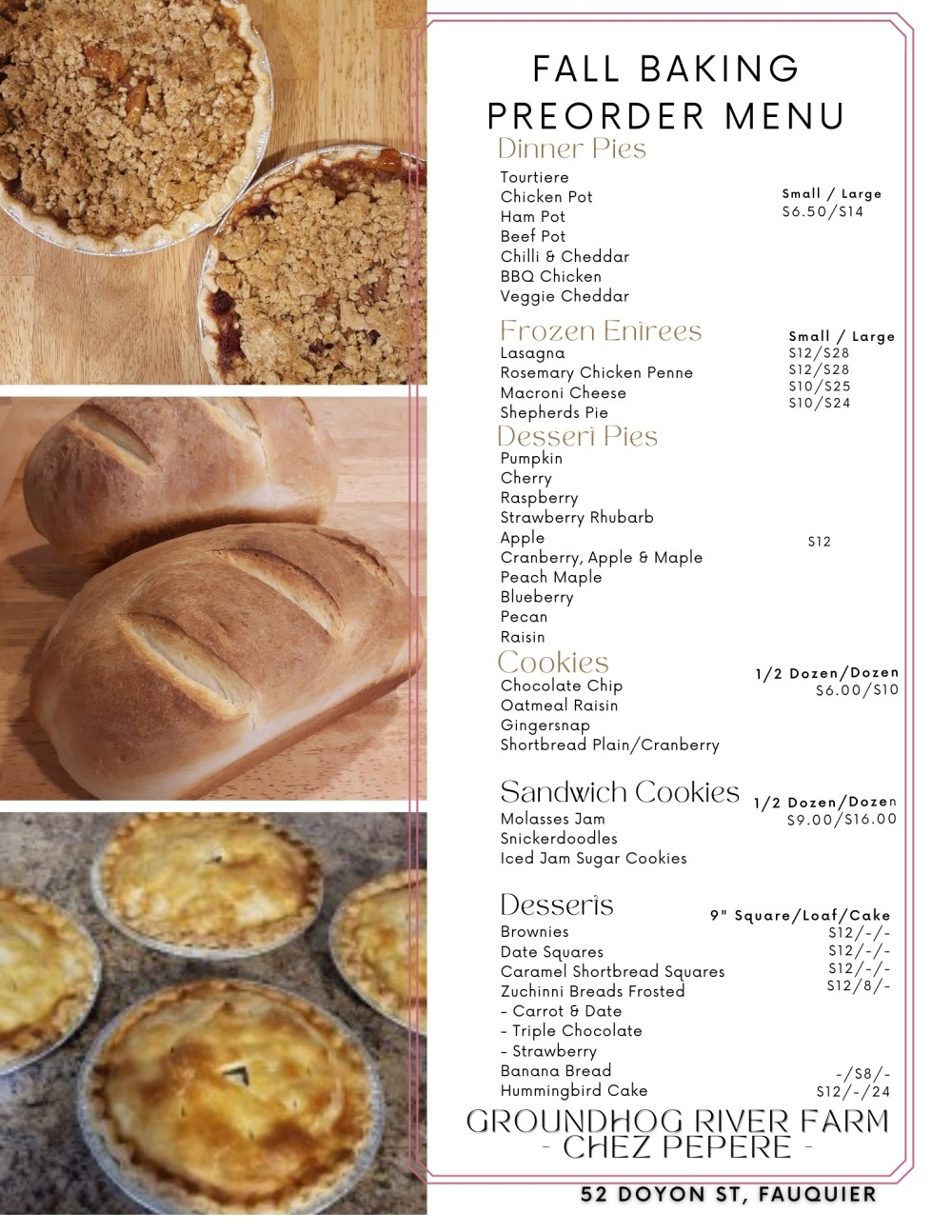 Fall Baking Preorder Menu is now available. Order your Pies, Desserts and Freezer Meals for winter now.