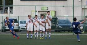 Burevestnik take a free kick during a 2-1 home defeat against Troitsk.