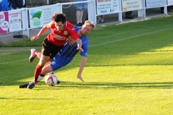 Action from a pre-season friendly between Pickering Town (blue) and Knaresborough.