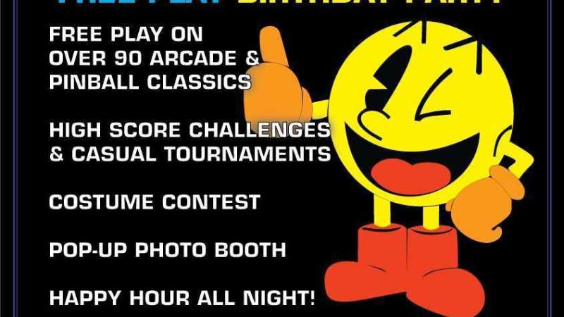 Image for Pac-Man's Free Play Birthday Party – Sunday 5/22, 5pm-late