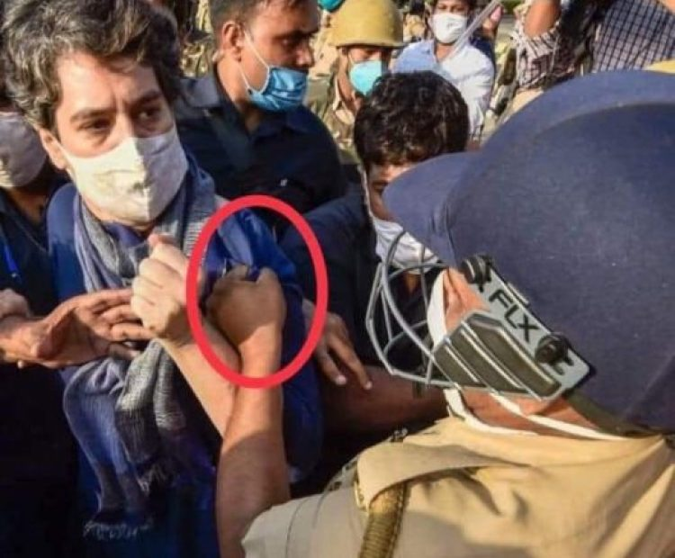UP Police misbehaves with Priyanka Gandhi going to Hathras, pulled kurta, tries to tear clothes