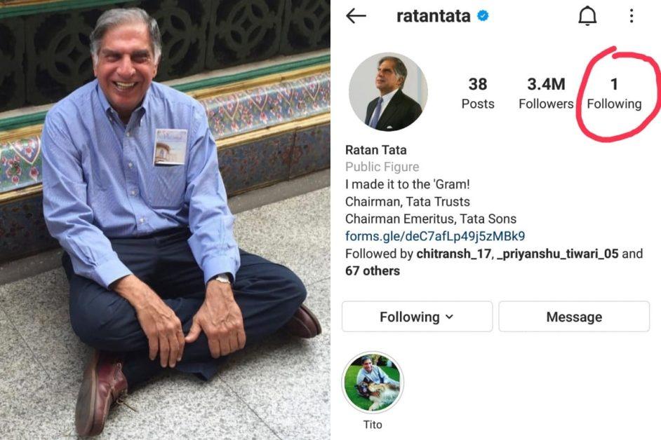 ratan tata instagram par kisko follow krte hain