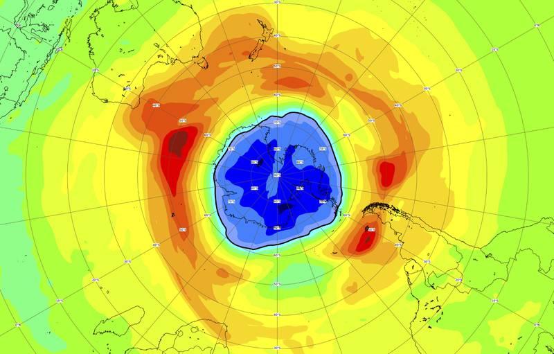 Ozone hole over the South Pole already outsizes Antarctica