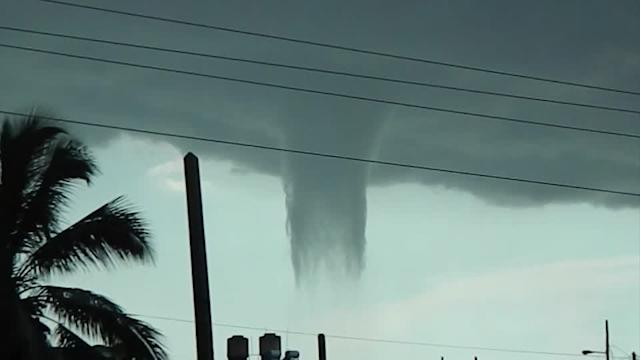 Waterspout formation near the Southern Cuban City of Cienfuegos