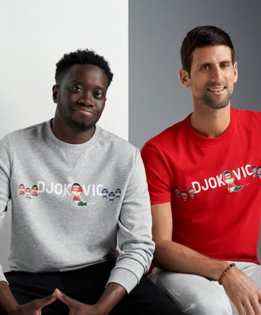 Novak Djokovic x ysy x Lacoste tennis couverture grounds