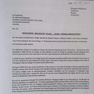 Appeal letter signed by 136 villagers from Mullikulam, to former President Rajapaksa in Sept. 2011 - 1