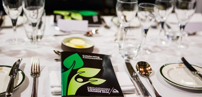 Photo of place setting at community awards 2018