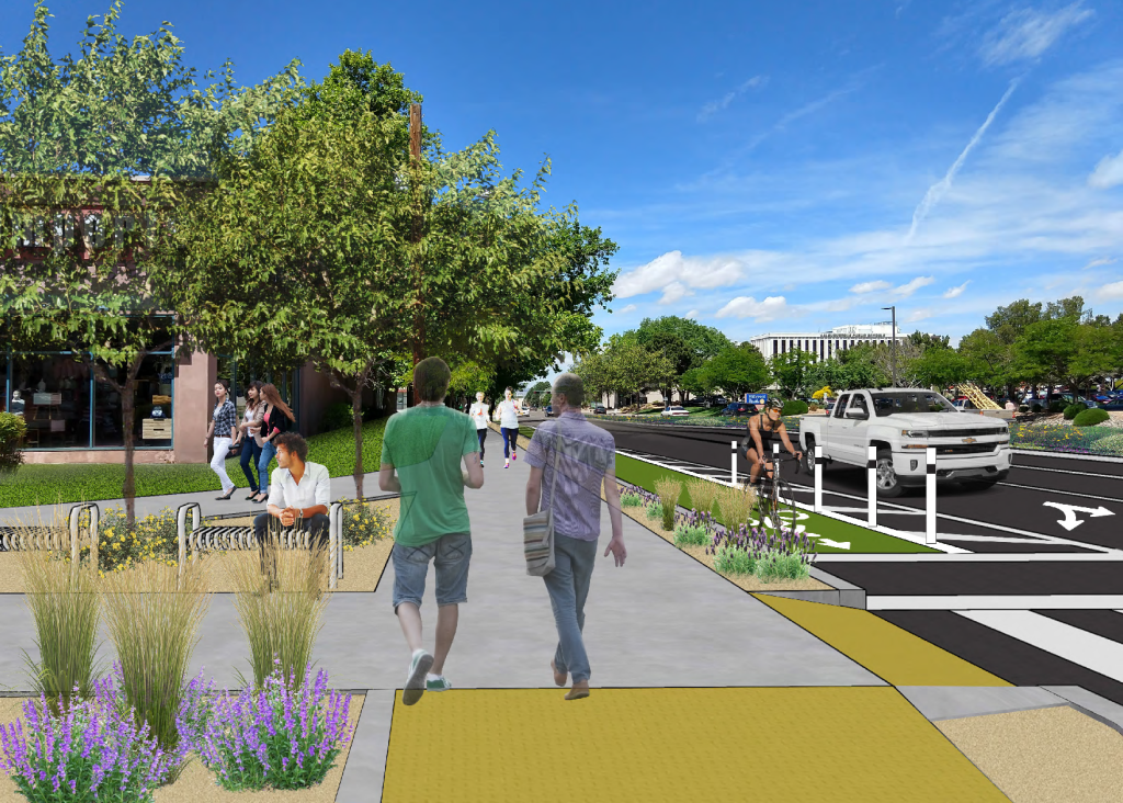 Rendering showing illustrative example of complete streets elements that could be added to the intersection
