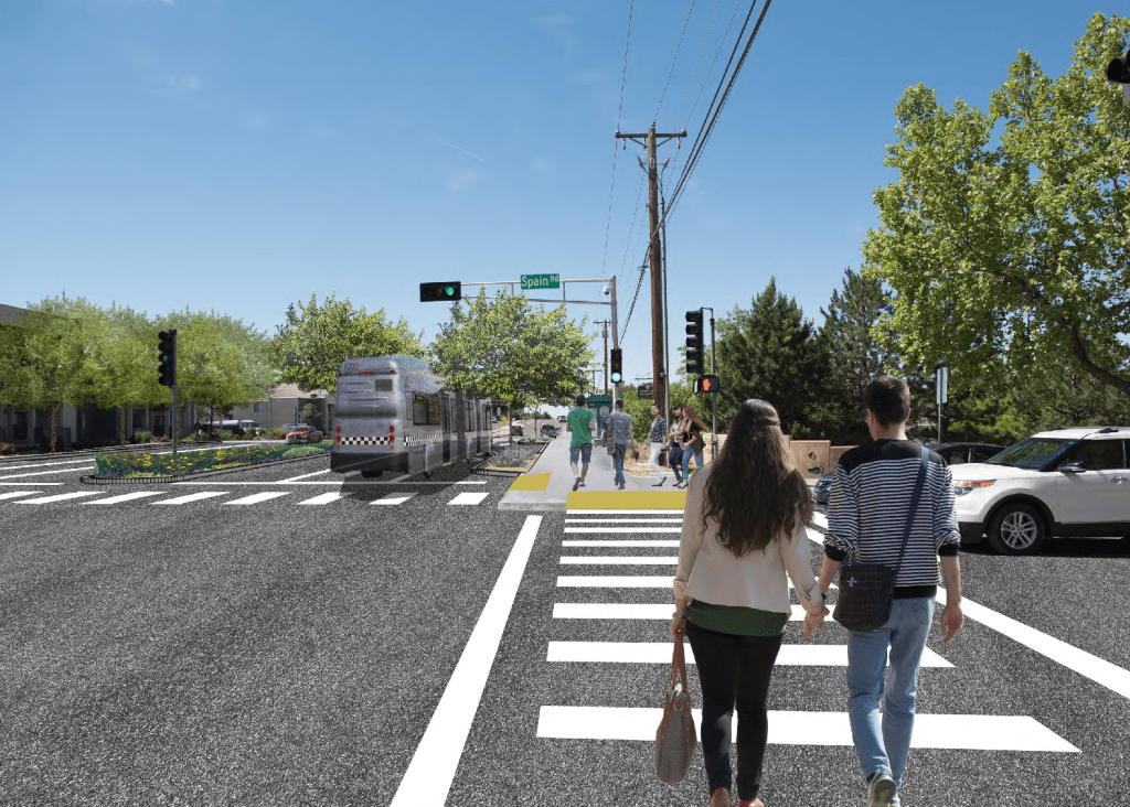 Rendering showing illustrative example of complete streets elements that could be added to the intersection. Elements include: road diet, bus bump-outs; improved curb ramps; and median landscape improvements.