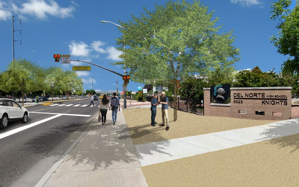 Rendering showing illustrative example of complete streets elements that could be added to replace the pedestrian bridge with a pedestrian hybrid beacon (PHB) and wider sidewalks.