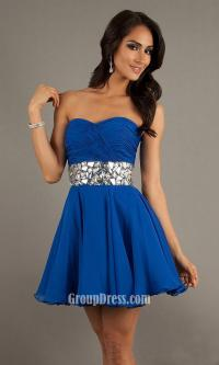 royal blue a line short strapless prom dress with ...