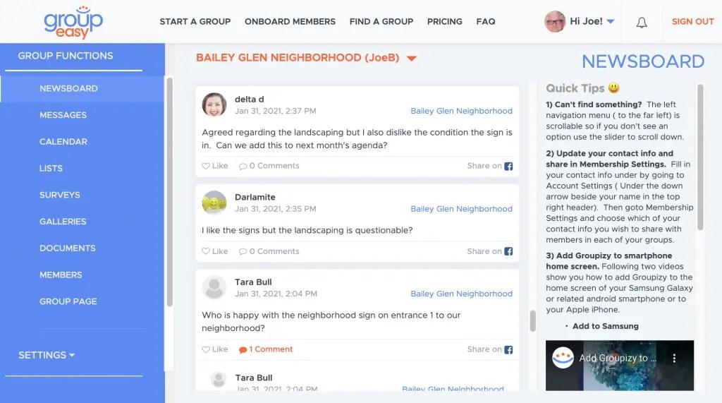 Groupeasy Newsboard example