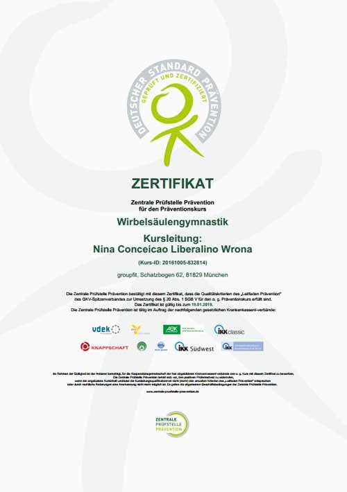 Zertifikat Praeventionskurs muenchen Nina