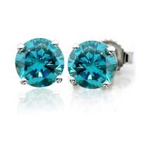 Blue-Diamond Stud Earrings
