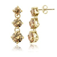 Colored Cubic Zirconia Dangle Earrings