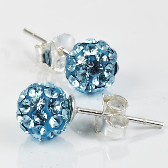 Sterling Silver Crystal Fireball Stud Earrings