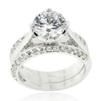 Cubic Zirconia Engagement-Ring Sets