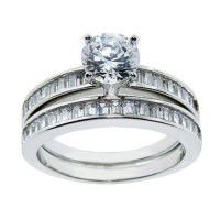 Sterling Silver Cubic Zirconia Wedding-Ring Sets
