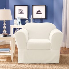 White Cotton Wing Chair Slipcover Swivel Base Uk Surefit Furniture Slipcovers