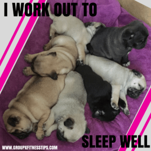 I work out to sleep well. Pugs sleeping on each other.
