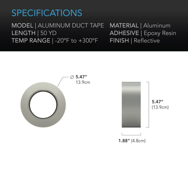AC Infinity Aluminum Duct tape 50-yard specifications