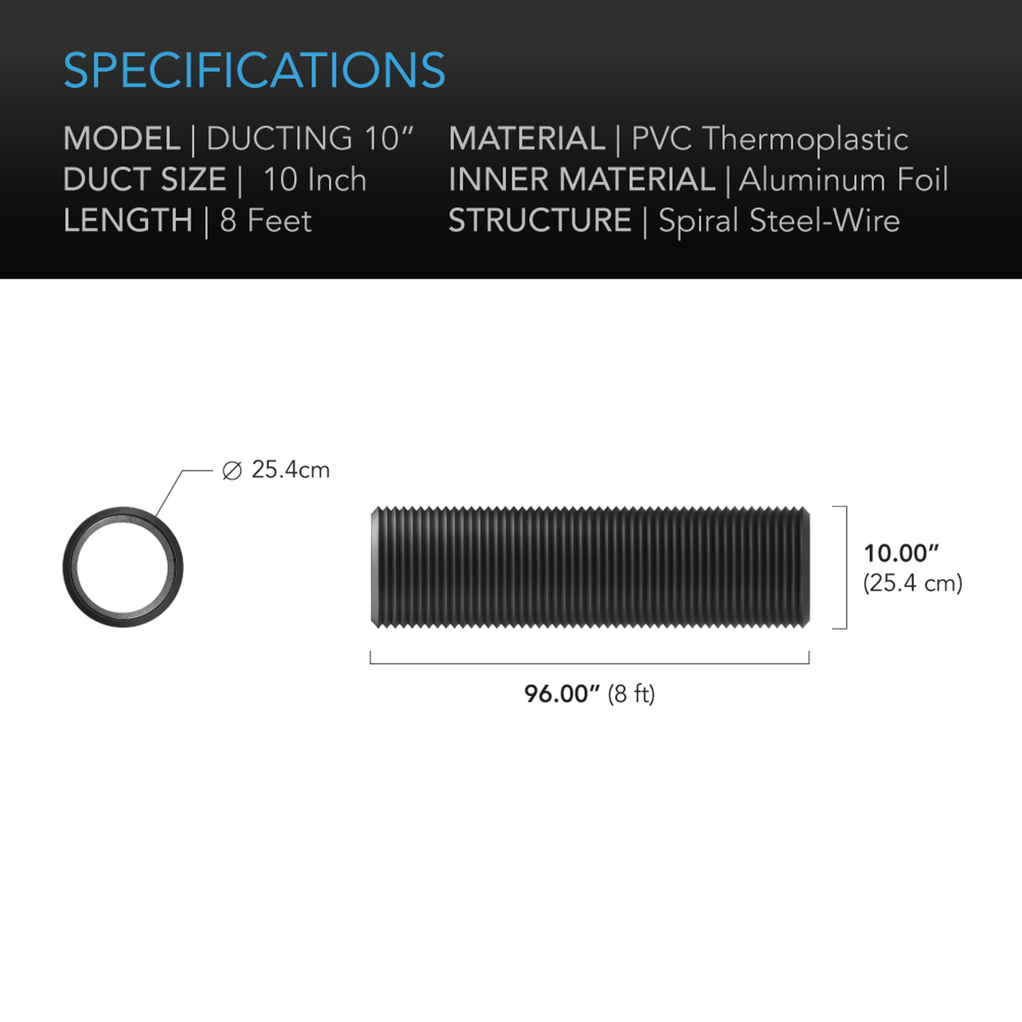 Duct tube 10 8' Specifications