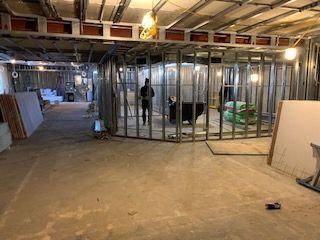 In order to save time we overlapped many of the trades; hvac technicians and pipe fitters working concurrently on one side while our awesome carpenters kept framing on the other side.