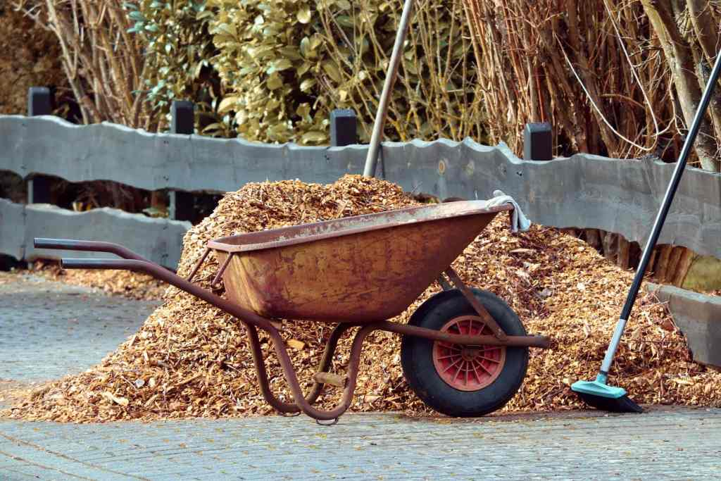 Mulch in a wheelbarrow