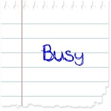 "image of a piece of paper with the word ""busy"" on it"