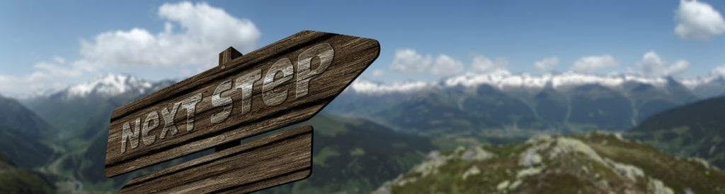 "wooden sign reading ""next step"" against mountain background"