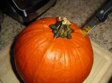The fresher the pumpkin the easier to cut. I used one of my nice steak knives .