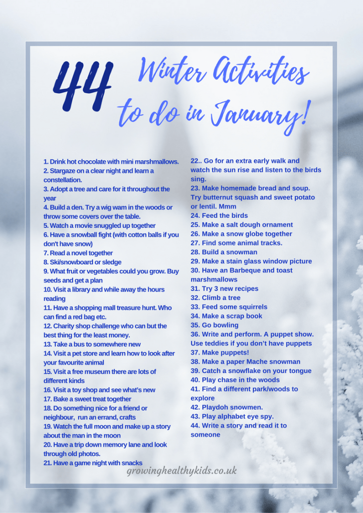 44 Winter Activities to do in January