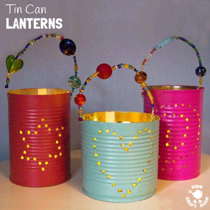 tin can lanterns garden craft
