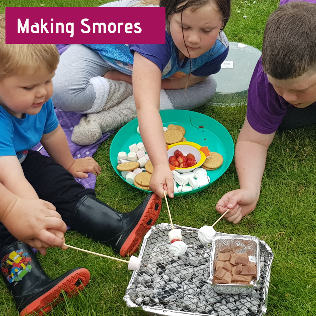 Making smores is a camping must have