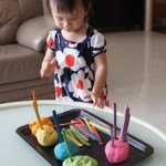 Colour Sorting with Craft Sticks and Playdough