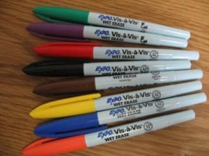 Wet erase markers, fine point