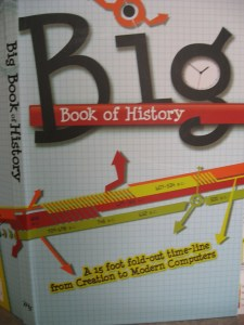 My history backdrop, a huge fold-out timeline, produced by Answers in Genesis called Big Book of History.