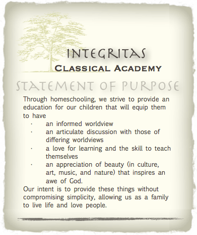 Homeschool Statement of Purpose