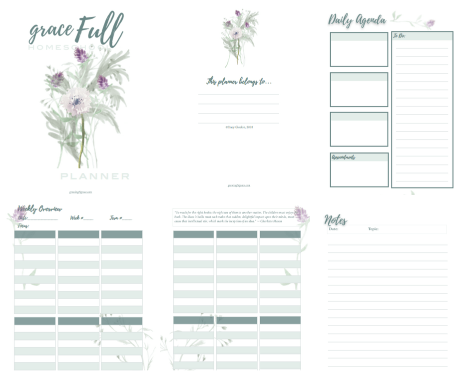 photograph relating to Free Printable Homeschool Planner titled Totally free Homeschool Planner Increasing Inside Grace