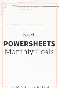 Use the Powersheets method to better set and achieve your goals! I share my monthly goals here to show an example of how to get the most out of your Powersheets.