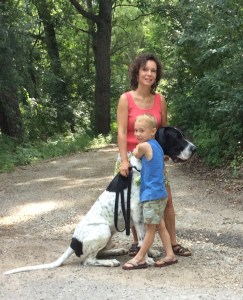 boy with dog and mom