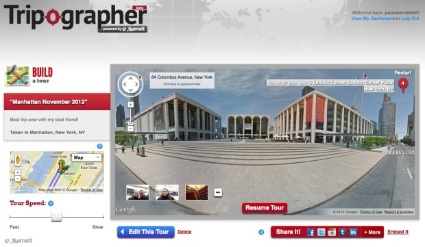 Screenshot of the Lincoln Center on Tripographer's virtual tour of my trip to New York