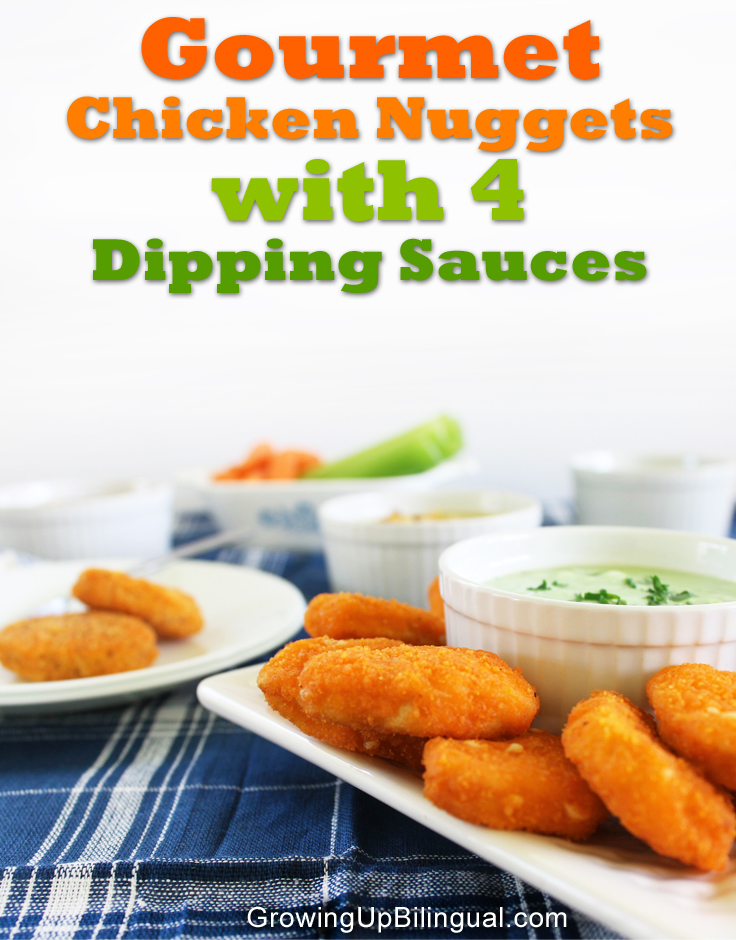gourmet chicken nuggets with dipping sauces