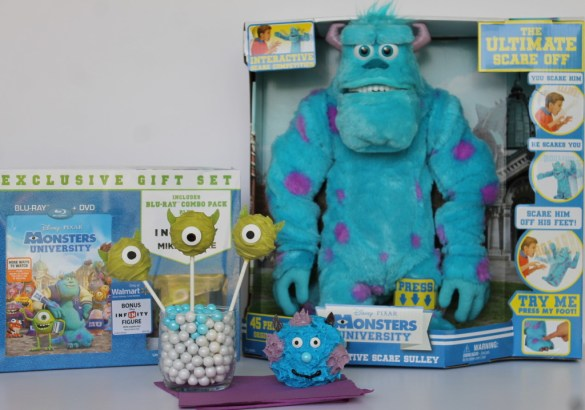Monsters University toys party cake pops and cupcakes