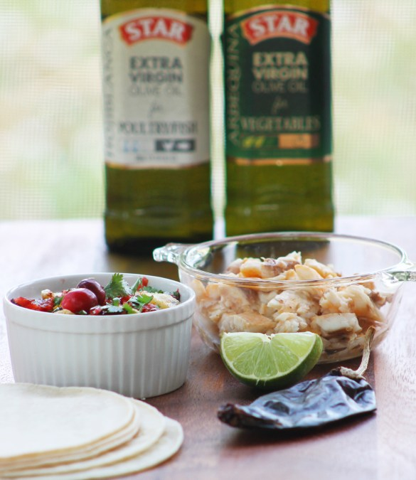 Fish tacos with cranberry salsa
