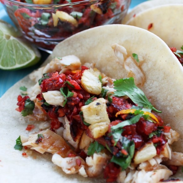 fish tacos with cranberry pineapple salsa