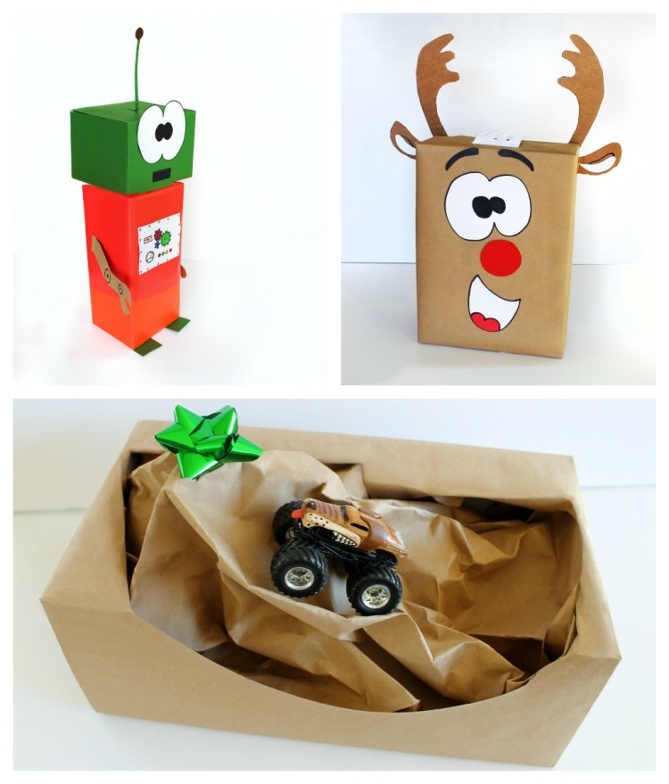 Monster truck gift wrapping idea