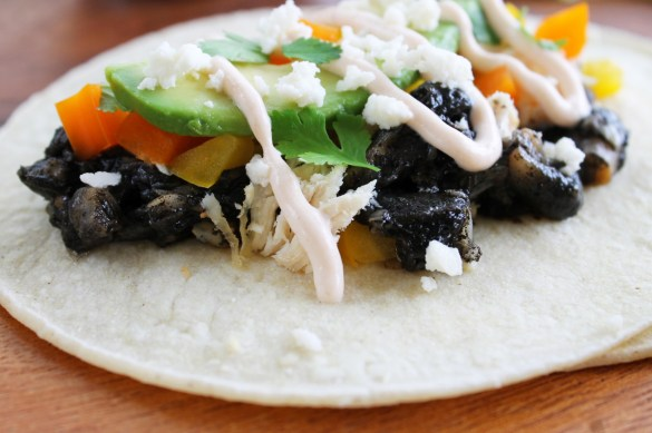 chicken and huitlacoche tacos #shop
